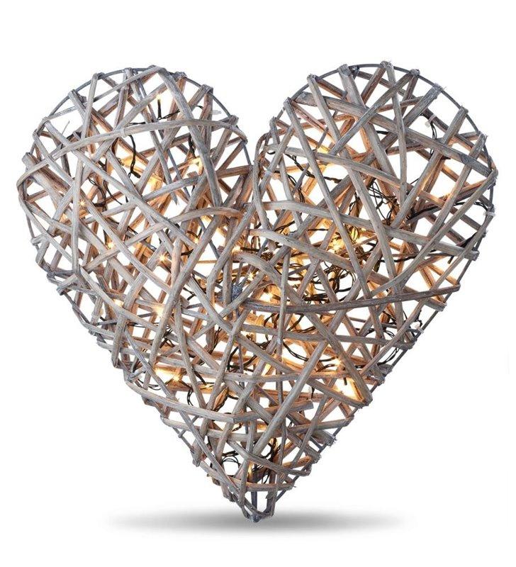 Lampa świecące serce z rattanu Back