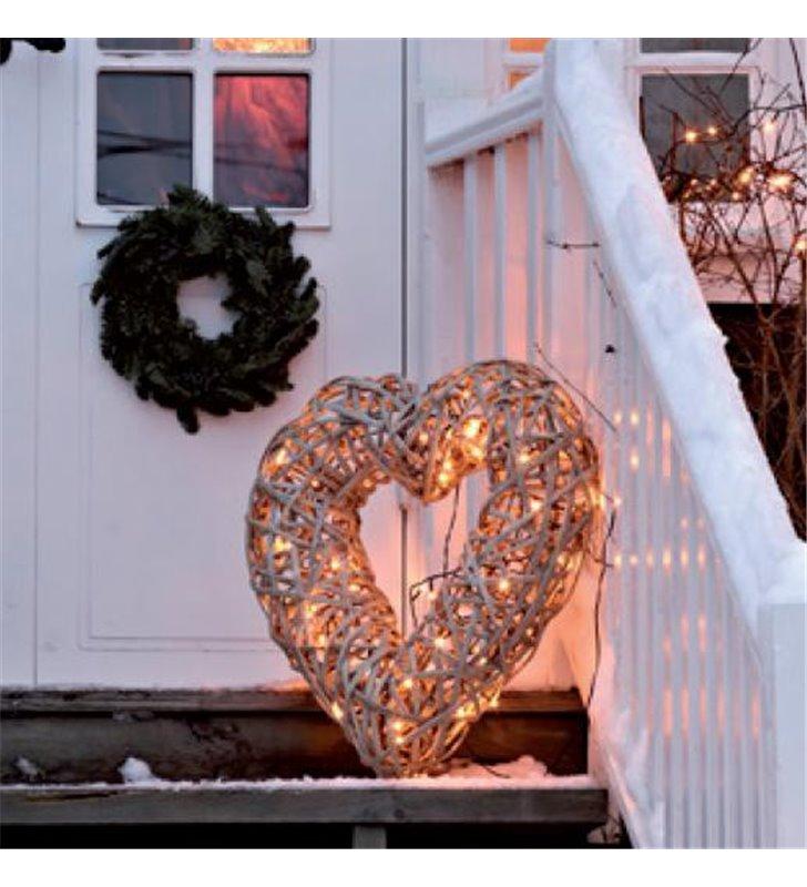 Zewnętrzna lampa w kształcie serca Land rattan