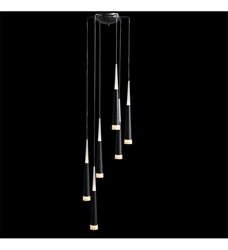 Lampa wisząca Brina 6 punktowa spirala klosze wąskie czarne z białym wykończeniem nad schody stół