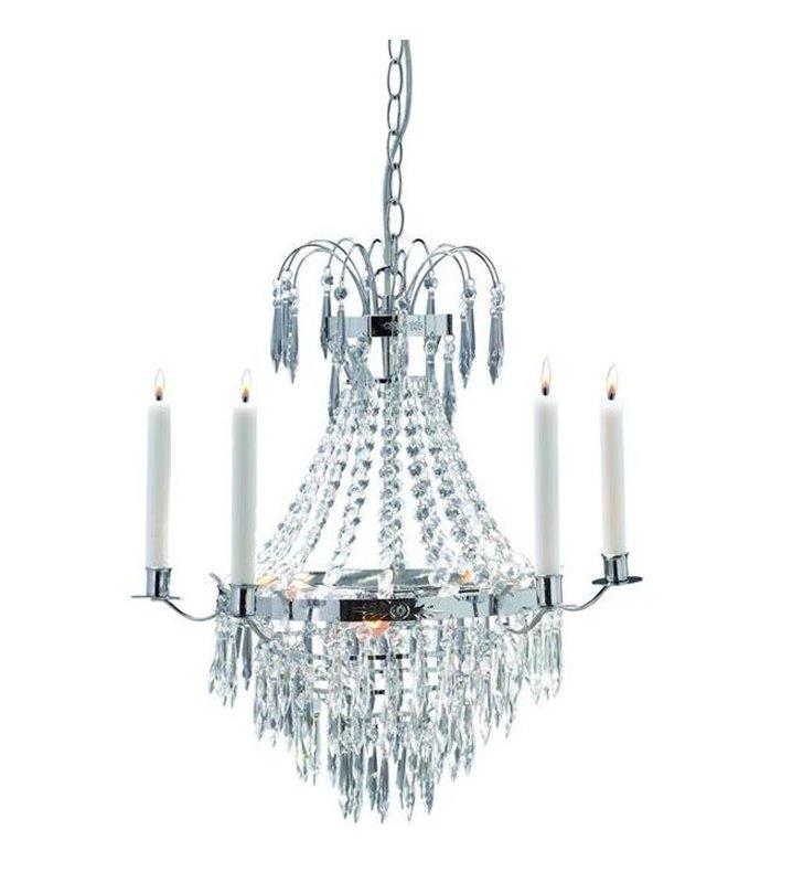 Chromowany żyrandol kryształowy ze świecami Krageholm