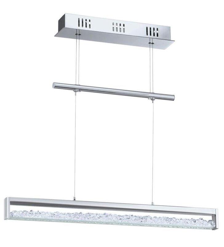 Lampa wisząca Cardito podłużna z kryształami np. nad stół regulacja światła od ciepłego do zimnego regulacja wysokości