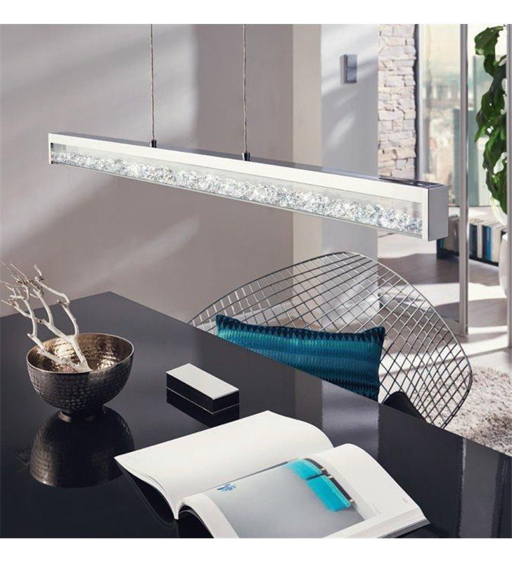 Lampa wisząca z kryształami podłużna Cardito regulacja barwy światła od ciepłej do zimnej