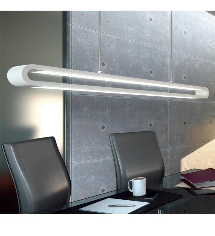 Biała podłużna lampa wisząca nad stół zmieniająca kolory Perillo LED - OD RĘKI