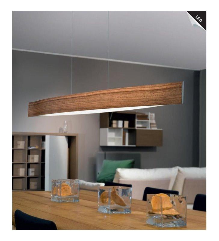 Lampa wisząca Fornes szeroka 97cm z drewna orzechowego