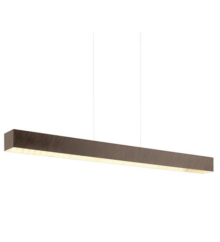 Lampa wisząca Collada brązowa ze złotym środkiem wąska 97cm