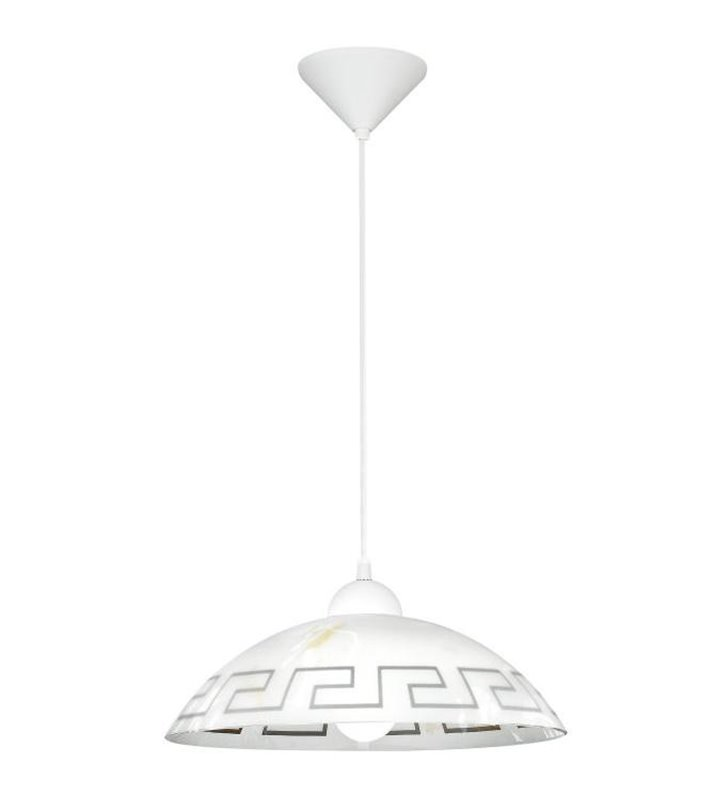 Lampa wisząca kuchenna Vetro grecki wzór na kloszu