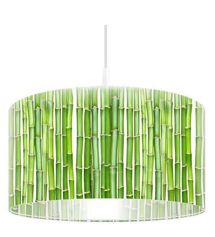 Zielona lampa wisząca Soczysty Bambus z nadrukiem bambusa