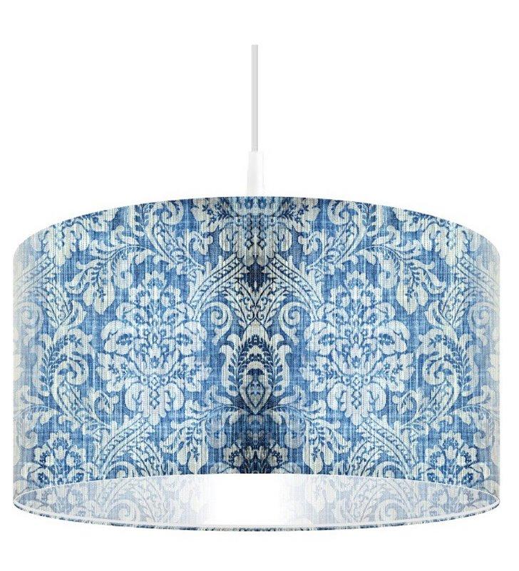 Lampa wisząca Niebieski Jeans niebieska z dekoracyjnym motywem