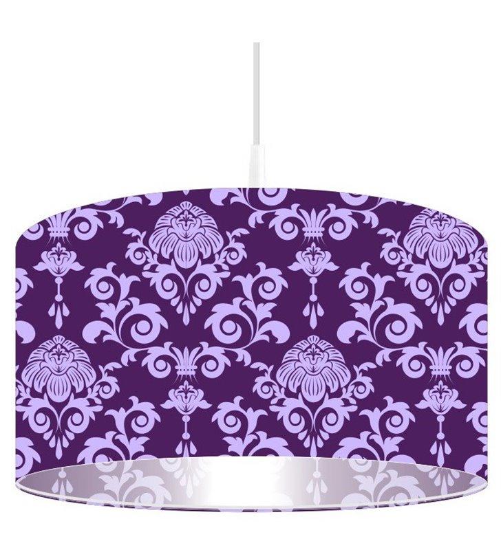 Fioletowa lampa wisząca z ozdobnym dekorem Fioletowy Deseń