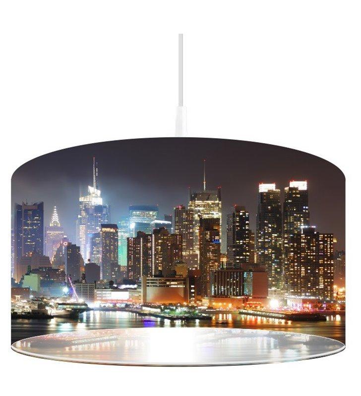 Lampa wisząca z nadrukiem miasta Manhattan we Mgle