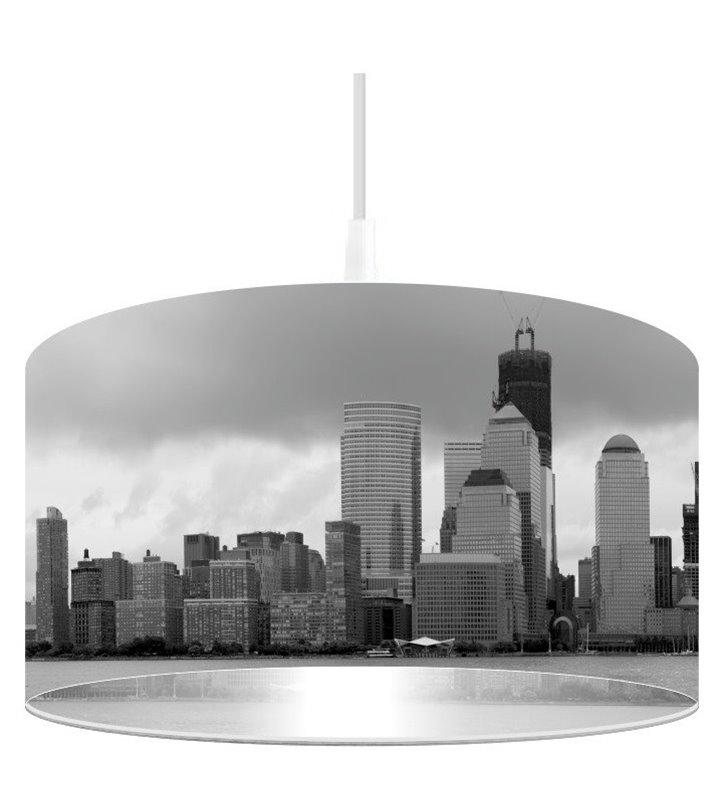 Lampa wisząca Srebrny Manhattan nadruk w odcieniach szarości
