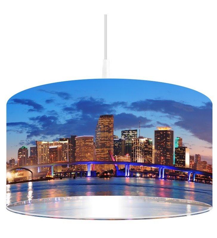 Lampa wisząca z nadrukiem miasta Miami Nocą