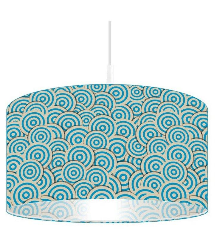 Lampa wisząca Niebieski Pląs kolorowy nadruk na kloszu