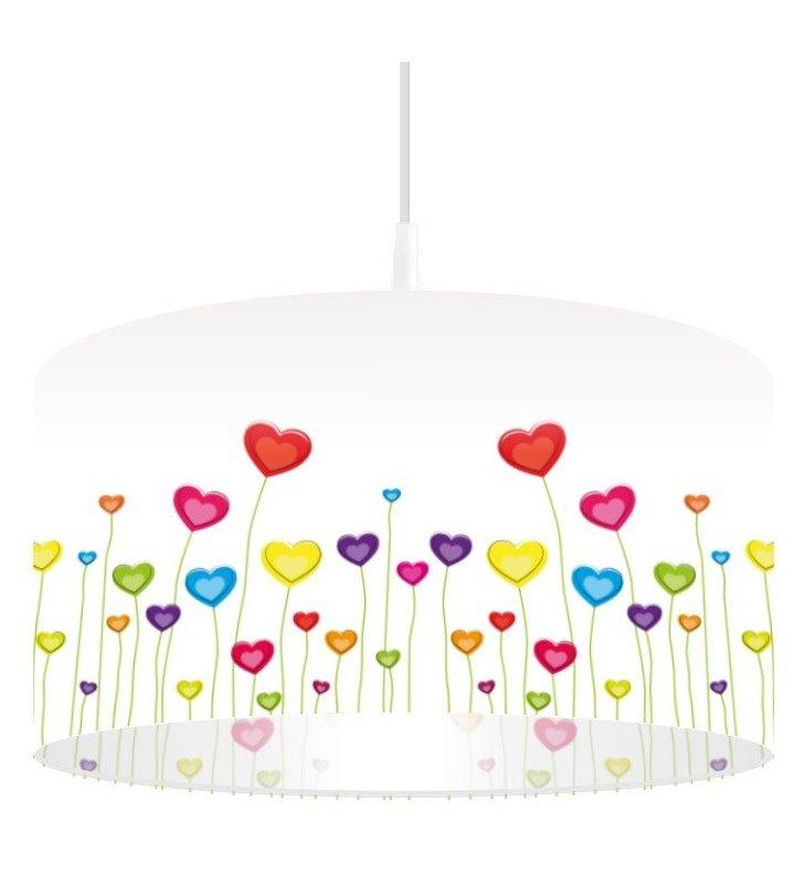 Lampa wisząca Łąka Serc kolorowa z serduszkami do pokoju dziecka