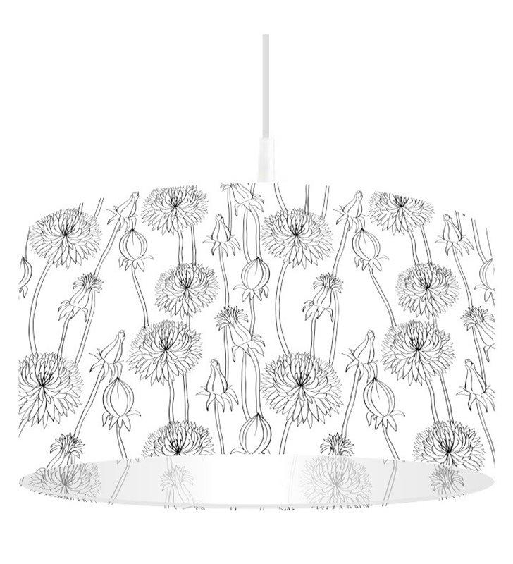 Biało czarna lampa wisząca Bukiet Stokrotek w kwiaty