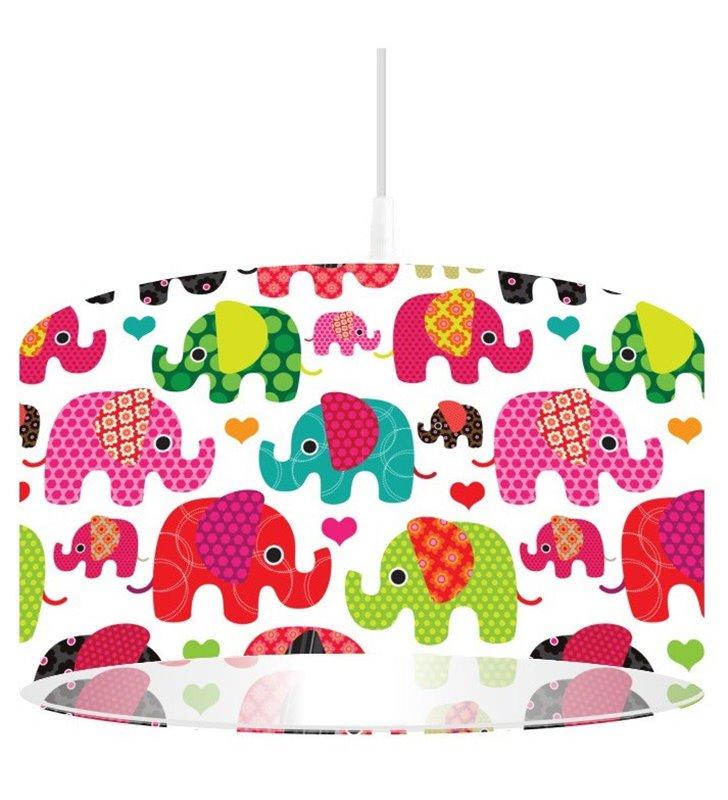 Kolorowa lampa wisząca Szczęśliwy Słonik do pokoju małego dziecka - OD RĘKI