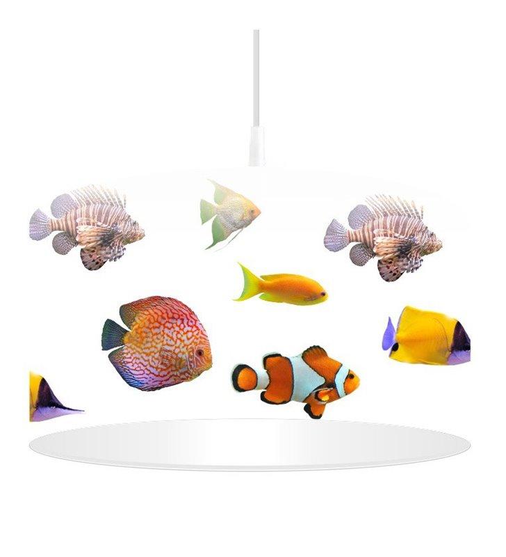 Lampa wisząca Kolorowe Rybki abażur z tworzywa 40cm