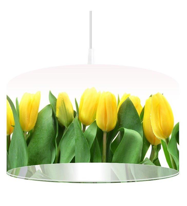 Lampa wisząca Złote Tulipany nadruk z żółtymi tulipanami