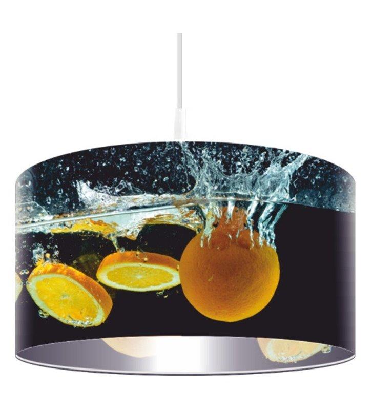 Lampa wisząca Hipnotyczna Pomarańcza ciemny abażur z pomarańczami wysokiej jakości nadruk