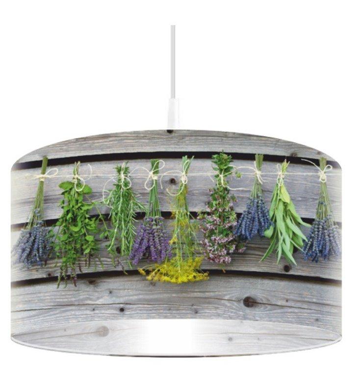 Lampa wisząca Pachnące Zioła abażur z nadrukiem do kuchni jadalni restauracji