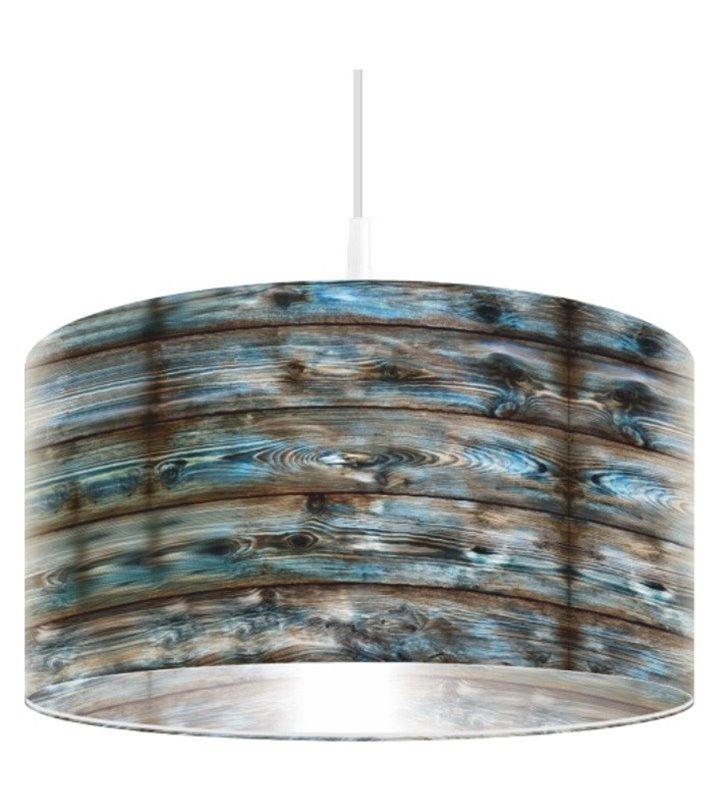 Lampa wisząca Stalowa Boazeria nowoczesna z wysokiej jakości nadrukiem imitującym deski 50cm