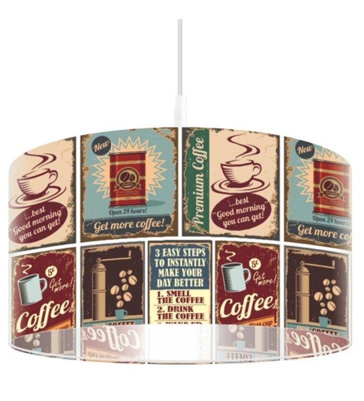 Lampa wisząca Amerykańska Kawa nowoczesna z nadrukiem do kuchni jadalni restauracji do pokoju młodzieżowego