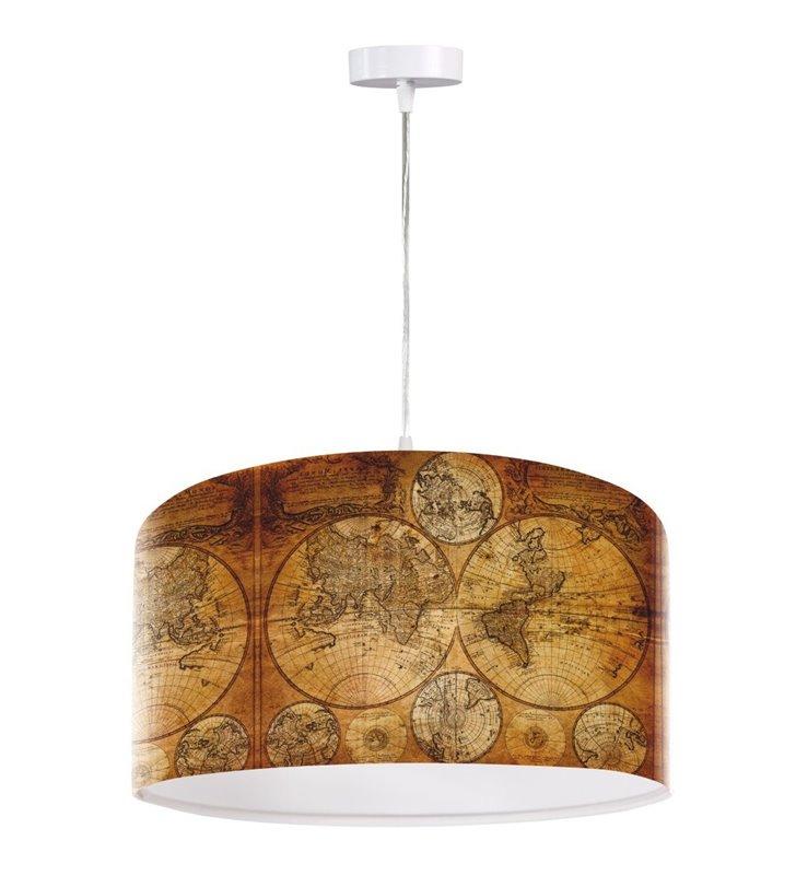 Lampa wisząca Medea z nadrukiem starej mapy