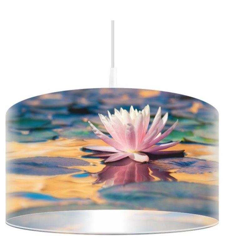 Lampa wisząca Liliowa Toń abażur z nadrukiem kwiatowym