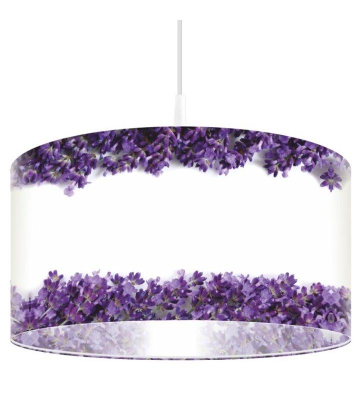 Lampa wisząca Wrzos biała z fioletowymi kwiatkami okrągły abażur z tworzywa
