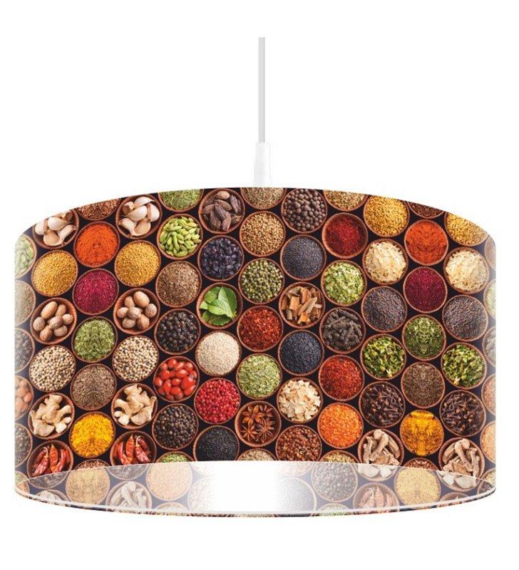 Lampa wisząca Przyprawy Świata abażur z kolorowym nadrukiem do kuchni jadalni restauracji