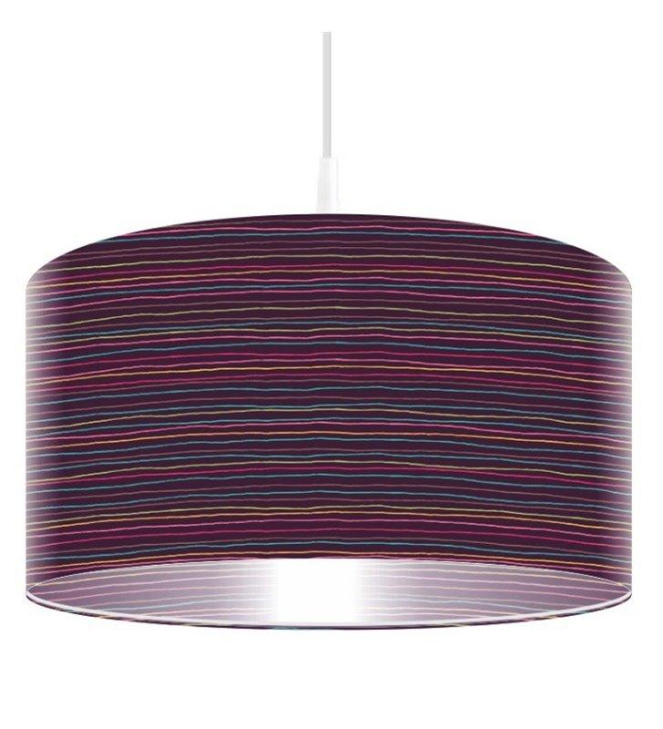 Lampa wisząca Paskowy Szał Barw fioletowa w kolorowe paski