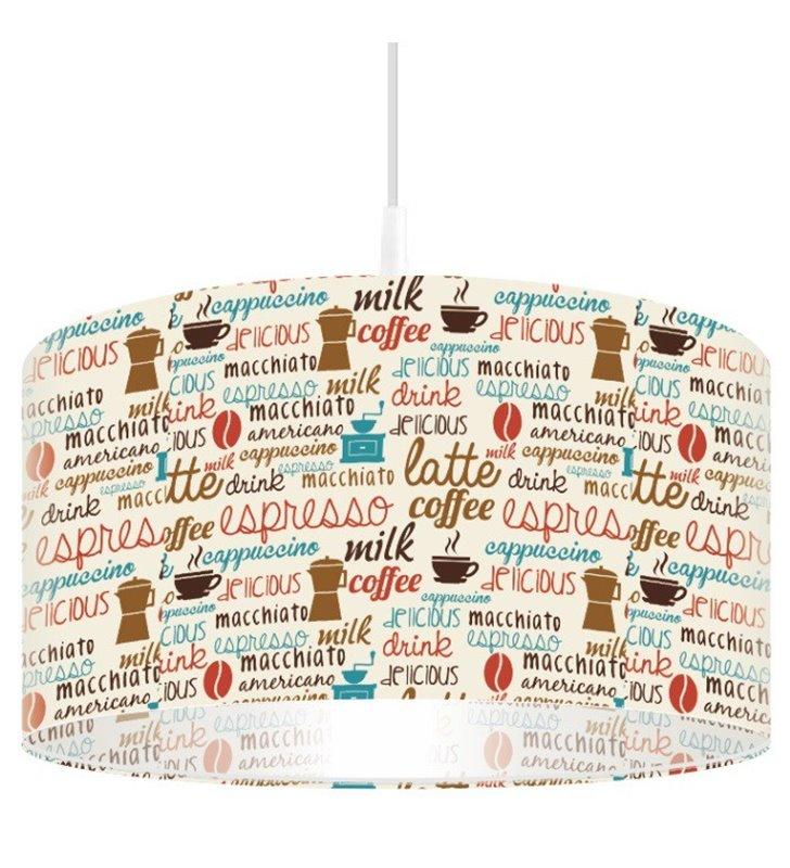 Lampa wisząca Caffee Latte nowoczesna z nadrukiem do kuchni jadalni nad stół do kawiarni