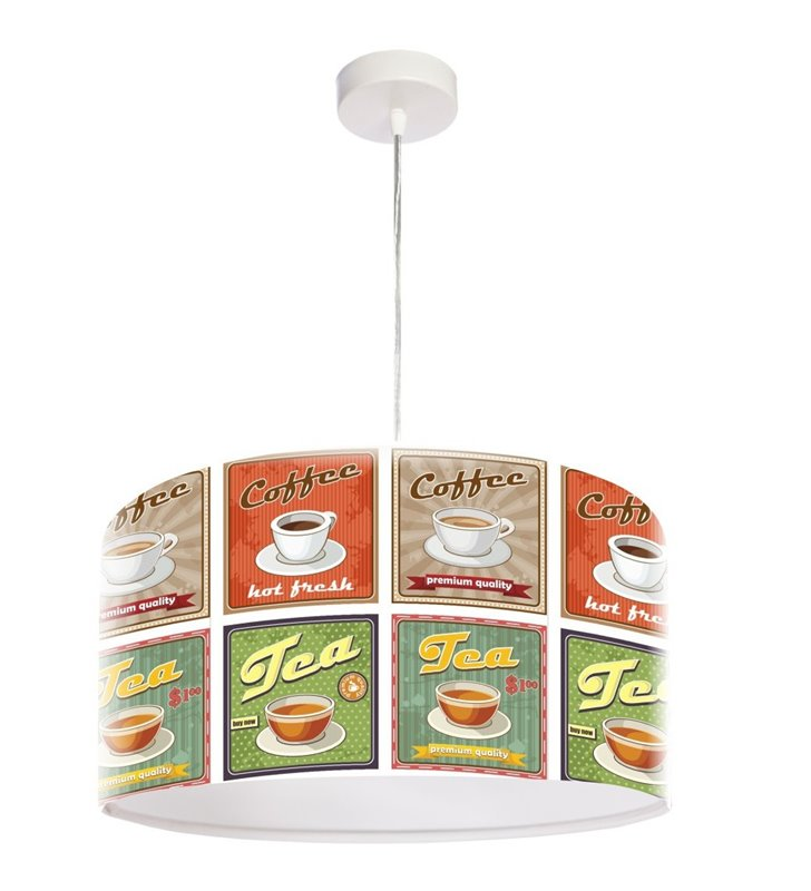 Lampa wisząca Kawa i Herbata nadruk w stylu retro