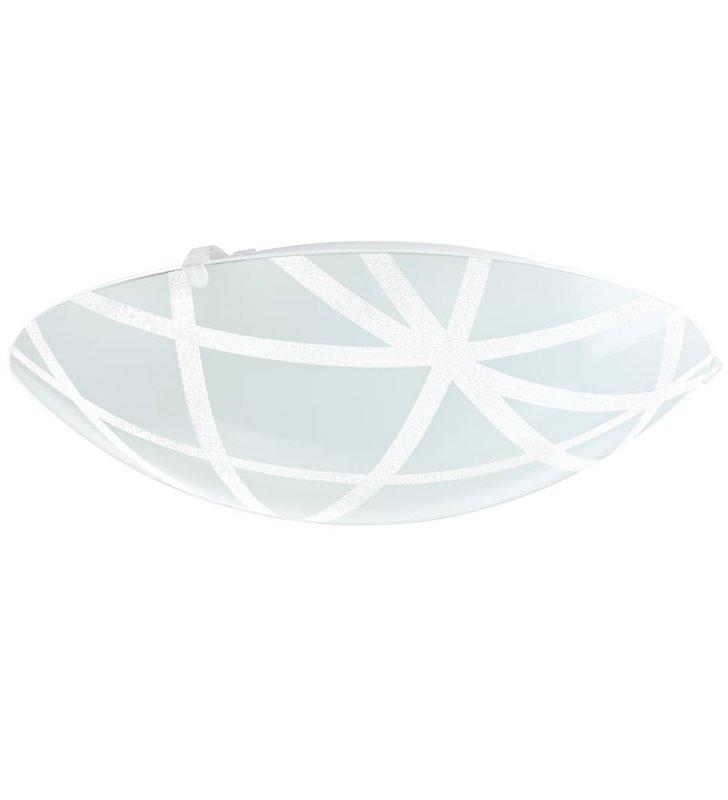 Plafon Sabbio 315 biały okrągły szklany wzór na kloszu