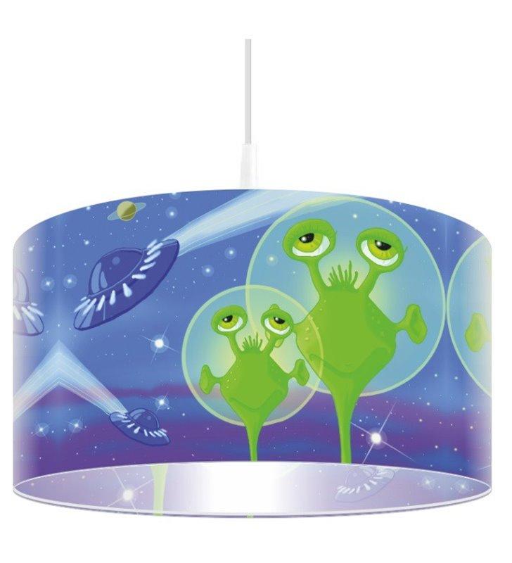 Kolorowa lampa wisząca Jaskrawe Ufoludki do pokoju dziecięcego