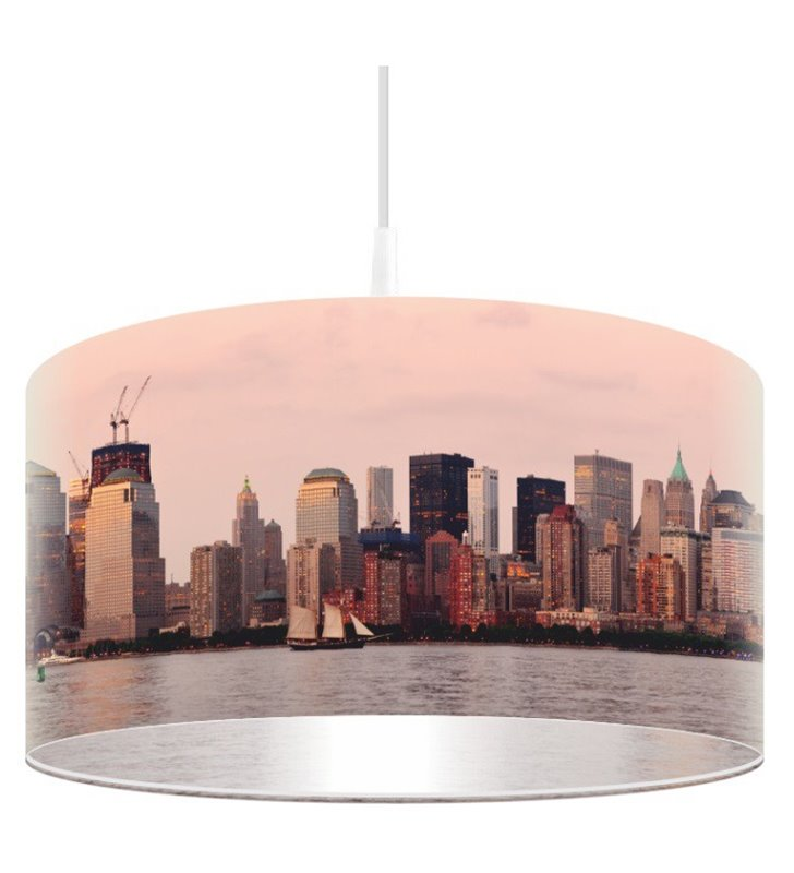 Lampa wisząca Zorza nad Miastem nadruk na kloszu widok miasta