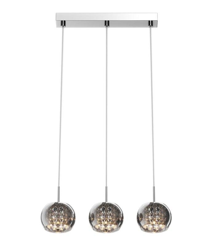 Lampa wisząca Crystal potrójna na belce klosze okrągłe szklane z kryształami nad stół wyspę kuchenną do salonu jadalni