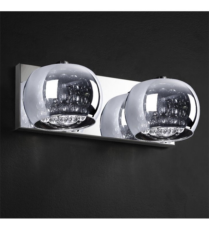 Kinkiet Crystal podwójny klosze szklane okrągłe z ozdobnymi kryształkami