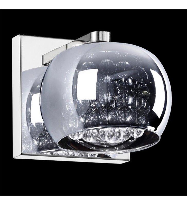 Kinkiet Crystal pojedynczy szklany z kryształami wykończenie chromowane