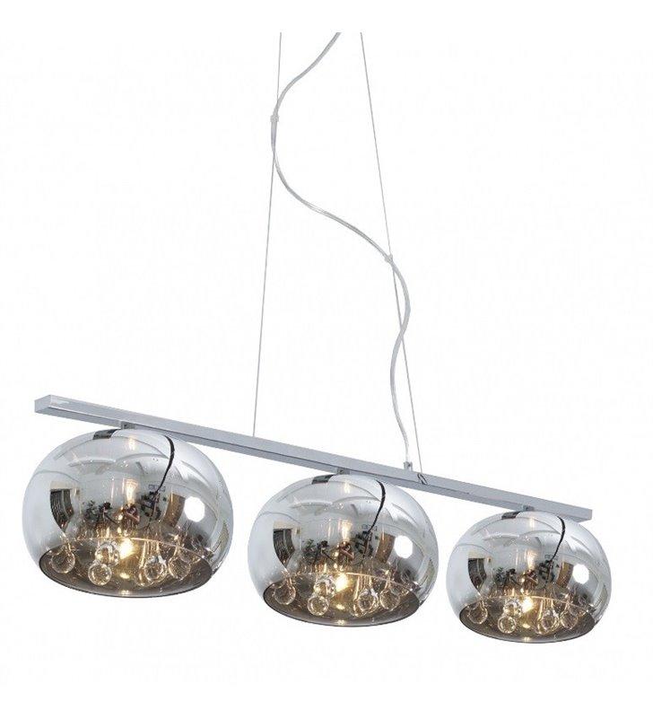 Lampa wisząca Crystal potrójna klosze szklane z kryształami do salonu kuchni sypialni jadalni nad stół wyspę kuchenną