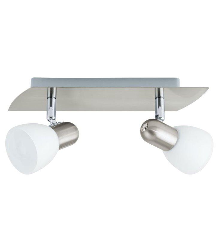 Lampa sufitowa Enea kolor satyna podwójna białe szklane klosze