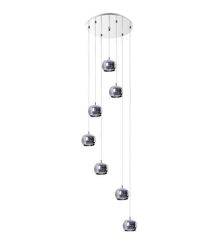 Lampa wisząca Crystal 7 punktowa kaskada z kryształami prawie 2m zwis np. nad schody