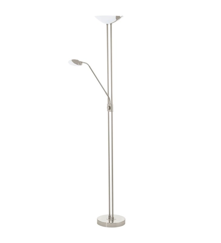 Lampa podłogowa Baya LED nikiel satynowany z dodatkowym ramieniem do czytania