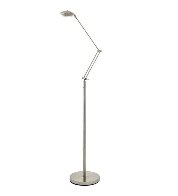 Lampa podłogowa Alcalo z łamanym ramieniem nikiel satynowany - DOSTĘPNA OD RĘKI