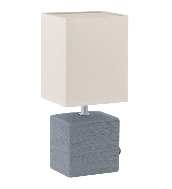 Lampa stołowa nocna Mataro szara ceramiczna podstawa biały kwadratowy abażur