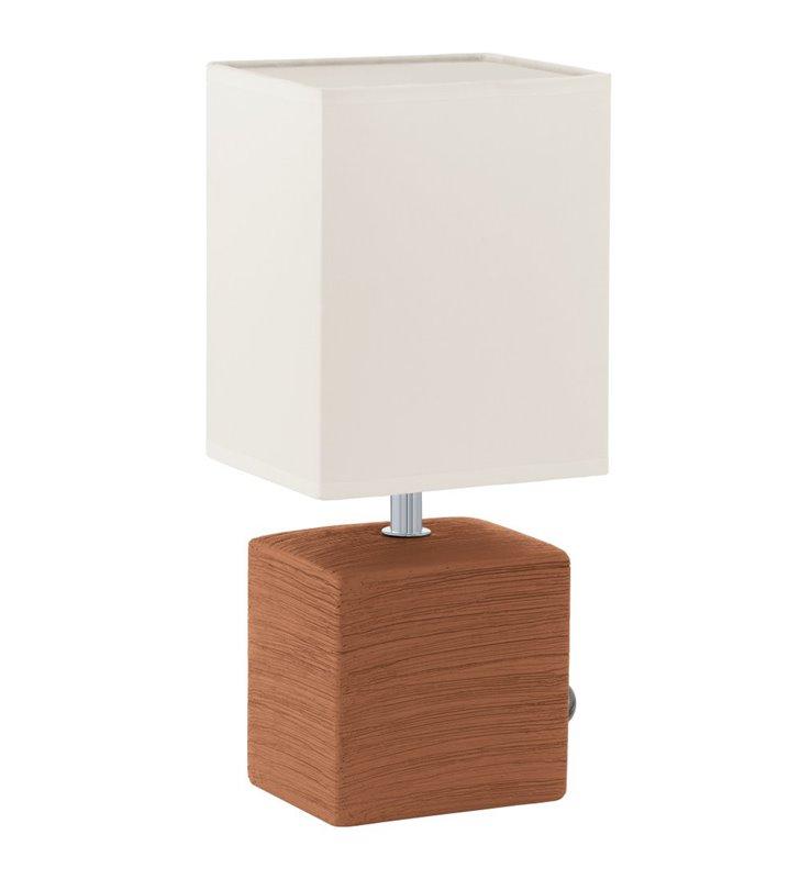 Lampa stołowa Mataro brązowa podstawa z ceramiki biały abażur
