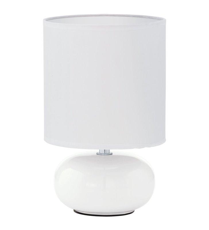 Mała biała lampa stołowa nocna Trondio ceramiczna podstawa