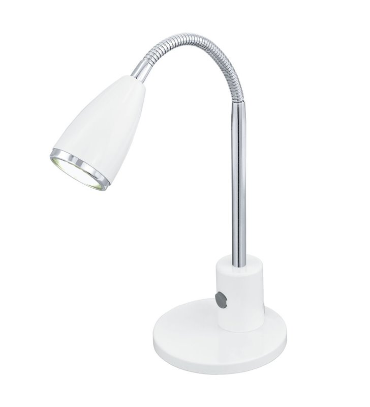 Lampa biurkowa Fox biała żarówka LED włącznik na lampie