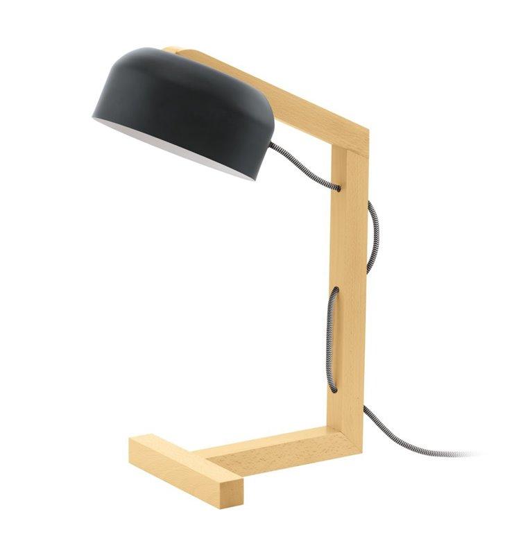Lampa biurkowa Gizzera z drewnianą podstawą w stylu szwedzkim kabel czarno biały