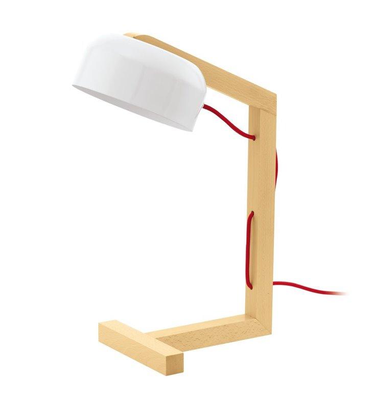 Lampa stołowa Gizzera biały klosz drewniane ramie przewód czerwony styl szwedzki
